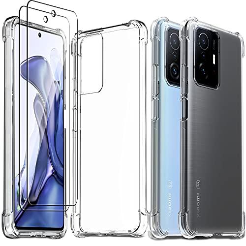 Ferilinso Handyhülle für Xiaomi Mi 11T/ Mi 11T Pro Hülle, mit 2 Stück 9H Festigkeit Panzerglas Schutzfolie, Superdünn Transparent Silikon Hülle, 10X Anti-Vergilbung, Unverwüstliche Fallfestigkeit