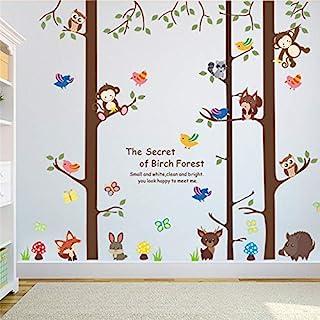 Wall Sticker Birch Tree Animals Living Room Decorations Home Decals Safari Monkey Owlets Fox Mural Art Poster Kids Gift