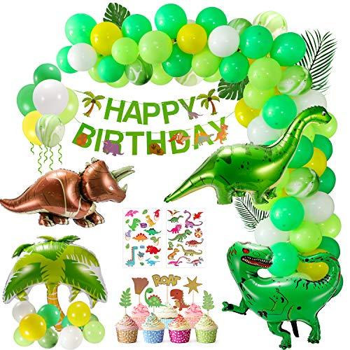 Cumpleaños Decoracion,  111 Piezas Fiesta de Dinosaurio Globo de Happy Birthday Banner Jurásico Mundial Tema Party para Niñas Niños