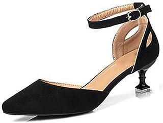 「ツネユウ 」パンプス カラーブロック スエード レディース ピンヒール 5cm アンクルストラップ ポインテッドトゥ デザインヒール 美脚 おしゃれ 安定感 履き心地よい 通勤 お出かけ 立ち仕事靴 出張 ワインレッド ブラック