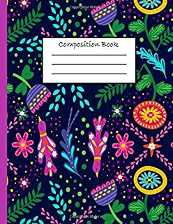 Composition Book: Colorful Floral Pattern College Ruled Notebook, 8.5 x 11, 110 Pages