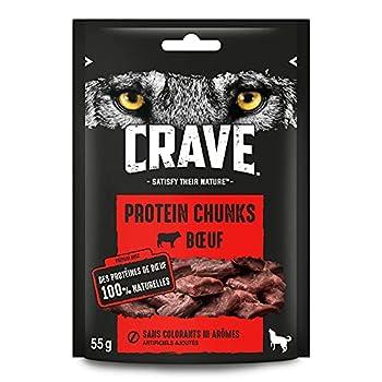CRAVE Protein Chunks Récompenses au bœuf pour chien 6 x 55g