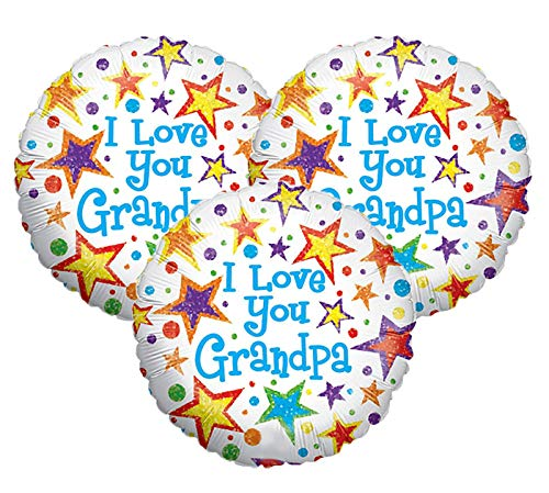 Set of 3 I Love You Grandpa Stars and Polka Dot 18' Foil Party Balloons