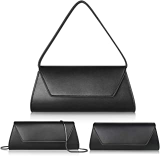 Evening Bag for Women Elegant Mysterious Black Evening Clutch Shoulder Crossbody Bag handbag Cowhide Leather Clutch Purse for Women Wedding Prom Party Bridal Women Bag