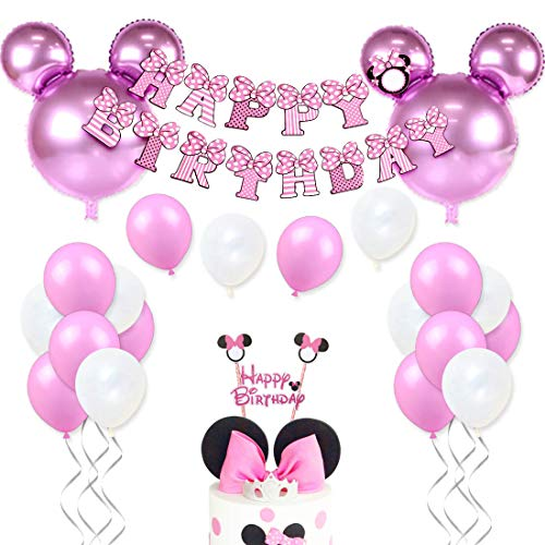 JOYMEMO Minnie Themed Geburtstag Dekorationen für Mädchen Rosa Minnie Party Supplies mit Minnie Mouse Kopf Ballons, Happy Birthday Garland und Cake Topper