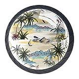 Bennigiry 4 Stück 30 mm Island Palmen Beach and Ocean Kristall Glas Schrankknauf Schubladengriff für Küche, Schrank, Kommode, Kleiderschrank, etc.