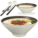 2X Cuenco Ramen Japones, con Cuchara y Palillos, 1000ml/9in Grande Cuencos Japoneses Cerámica de Imitación Bol Bowl Cocina Ensaladera Tazón de Sopa, Clásico Blanco Crema, para Fideos, Ensalada