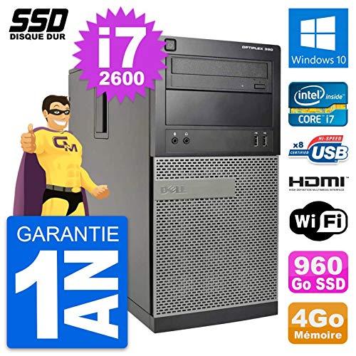 Dell PC Tour Optiplex 390 MT Core i7-2600 RAM 4Go SSD 960Go HDMI Windows 10 Wifi (Reconditioned)