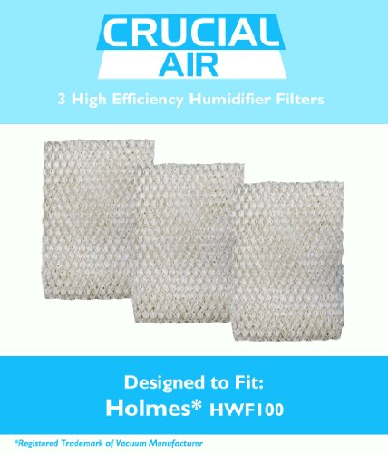 Crucial Air Replacement Humidifier Filter- Compatible with Holmes Part # HWF-100 - Fits HM7204, HM7305, HM7305RC, HM7306, HM6000, HM6000RC, HM6600, HM6005HD, HM729, HM4600, HM630 (3 Pack)