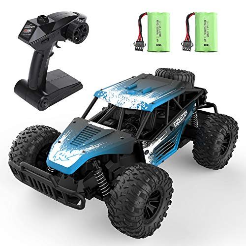 EACHINE EC16 Coche RC Durable para Niños 45 Minutos 1/16 RC Off Road Truck 2WD RC Coches de Alta Velocidad 20km/h 2.4Ghz Todo Terreno Impermeable Juguetes Regalos para Niños Adultos (2 baterías)