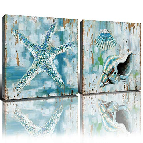 Vintage Starfish Bathroom Wall Art Teal Beach Room Decor Blue Sea Shell Ocean Painting Canvas Prints Marine Seashell Home Decoration Modern Pictures Artwork Framed Easy to Hang 12 x 12 Inch 2 Panels