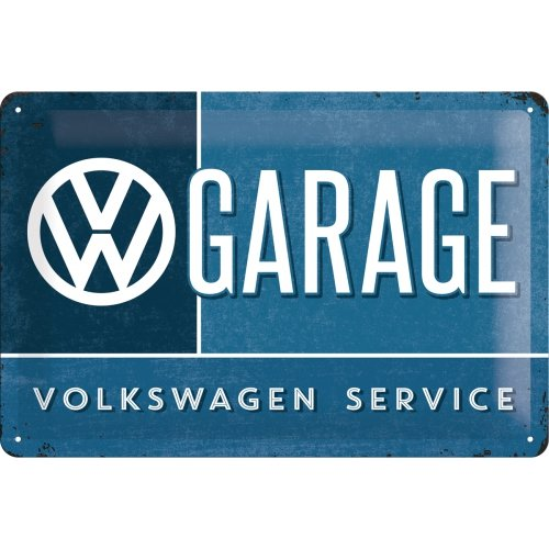 Nostalgic-Art VW Garage Placa Decorativa, Metal, Azul y Blanco, 20 x 30 cm