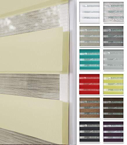 Home-Vision® Duo Rollo nach Maß, Doppelrollo ohne Bohren mit Klämmträgern, Rollos für Fenster und Türen (Creme, B121-125cm x H150cm)