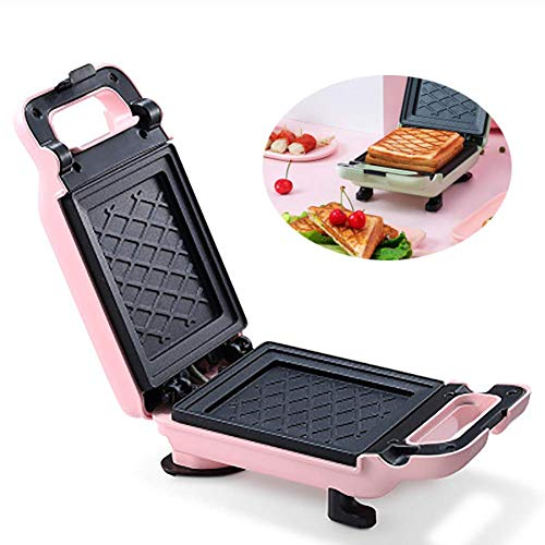QIN.J.FANG-MY Home Toastie Machine,Sandwich Machine,Breakfast Home Light Food Waffle Multi-Function Pressure Toaster with Speedy Heat Up and Easy Cleaning 600W,Pink