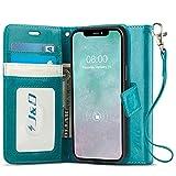 J&D Compatibile per iPhone 12 PRO Max Cover, RFID Blocco Portafoglio Sottile Adatta Protettiva Robusta Antiurta Flip Custodia per iPhone 12 PRO Max, Non per iPhone 12 Pro/12/12 Mini, Turchese