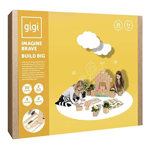 Gigi Bloks Bloques de Construcción Gigantes de Cartón | Set de Regalo Puzzle de Casa y Gato con 30 Ladrillos Apilables XL, Plantillas, Pinturas y Pegatinas | Juegos de Habilidad para Niños