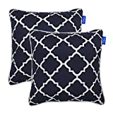 Set of 2 Patio Outdoor Decorative Throw Pillow Square Cushion with Insert 18''x 18'' (Blue Plaid)
