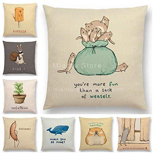 Funda de cojín de 8 piezas para sofá de lino con diseño de animalitos divertidos, letras decorativas lindas y apodo para decoración del hogar, 45 x 45 cm