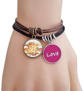 September Month Season Illustration Love Bracelet Leather Rope Wristband Couple Set