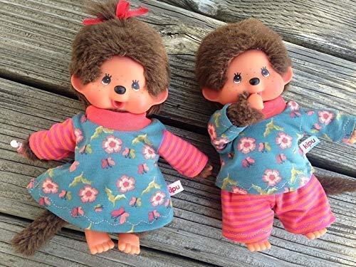 Puppenkleidung handmade für MONCHICHI Gr.20 Zwillinge Bekleidung Blümchen + Ringel Kleidung * Kleid + Shirt + Hose *