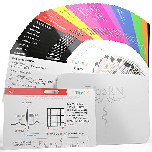 BadgeGuru 2.0 Nursing School Essentials Set by Tribe RN - 44 Nursing Badge Reference Cards - Comprehensive Clinical Nurse Badge Card Set Includes Bonus Nursing Cheat Sheets for RN, LPN, CNA, and EMT