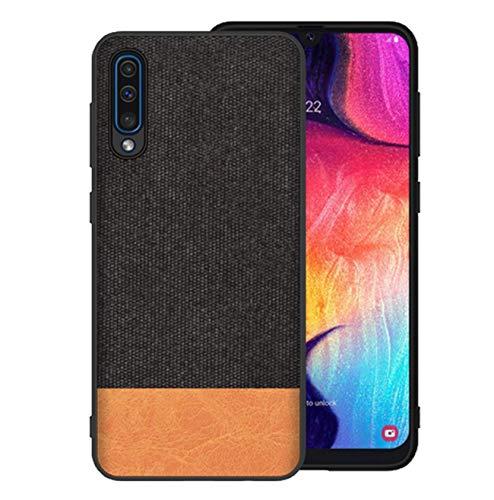 Kompatibel mit Galaxy A50 Hülle Galaxy A70 Schutz Tasche Handyhülle Ultra Dünn Stoff aufrüsten Anti-Rutsch Anti-Fingerabdruck Hülle (Schwarz gelb, Galaxy A70)