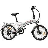 ANCHEER Bicicleta Eléctrica Plegable 20 Pulgadas, con Batería Extraíble 36V 8Ah, 250W Motor, Shimano de 7 Velocidades hasta 25km/h para la Transporte de Ciudad (20' Plegable Blanco)