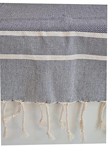 Cotonway - Fouta, Plaid, Überwurf, Tagesdecke, Hammamtuch Chevron Lurex Grau100 x 200 cm
