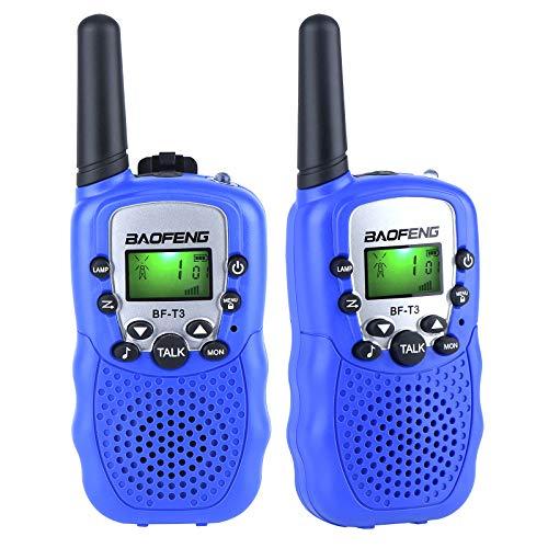 SOMFIUI 2X Walkie Talkies Sets 1-3km Reichweite Funkgeräte 8 Kanälemit Hintergrundbeleuchteter LCD-Taschenlampe Geschenke für 3-12 jahrige Teenager Jungen Mädchen (Blau)