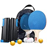 RXDRO Professional Ping Pong Paddle Set, with Retractable Net (Support Clip), 2 Table Tennis...