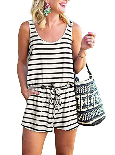 REORIA Womens Casual Summer One Piece Sleeveless Tank Top Striped Playsuits Workout Yoga Short Jumpsuit Beach Rompers White+Black Large