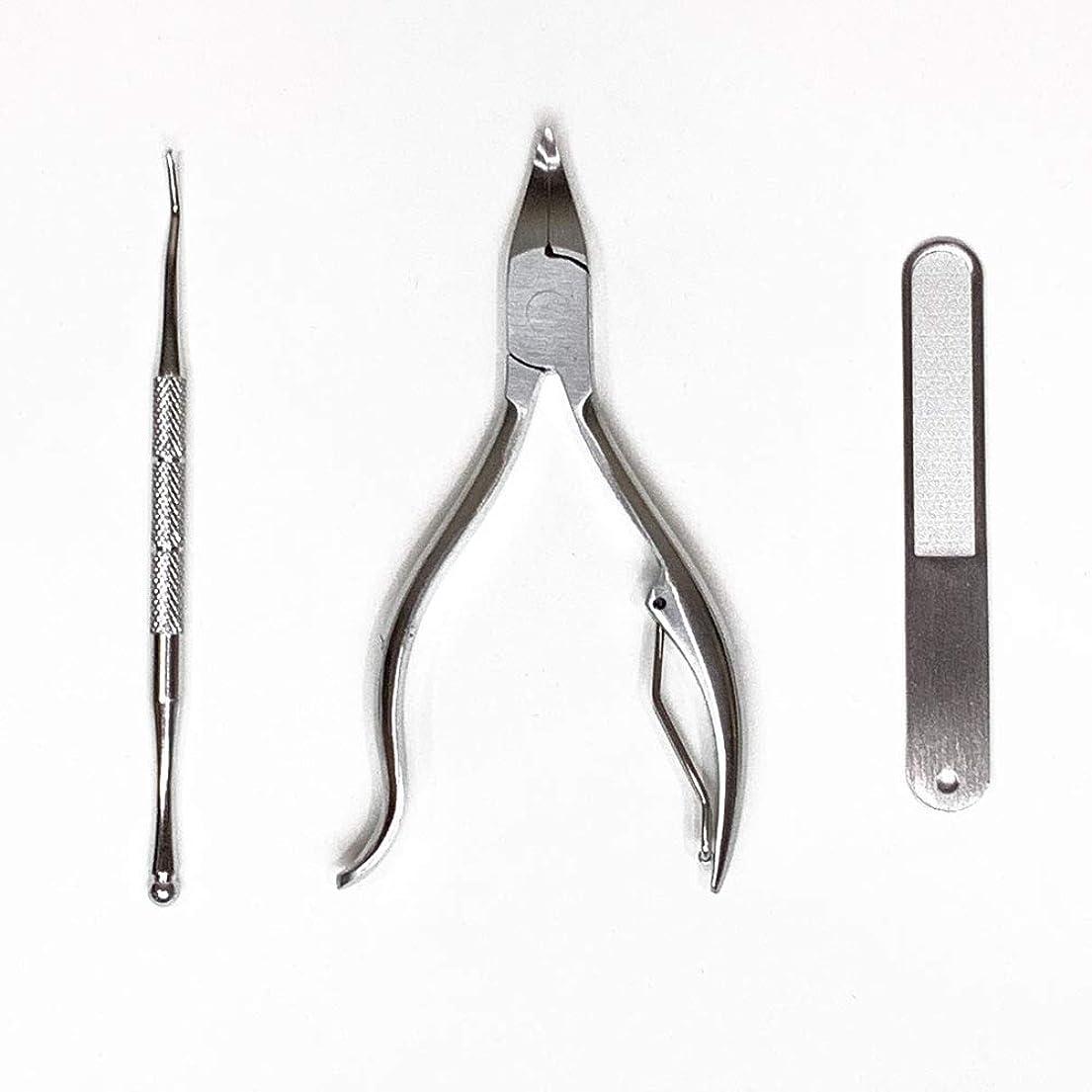 服スカリーパーチナシティLarmmercy 爪切り ニッパー やすり ゾンデ 三点セット 巻き爪 硬い爪 変形爪にも