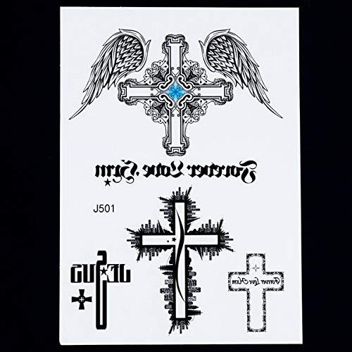 Handaxian 3pcsBody Histoire de l'art Totem Indien Autocollant de Tatouage rétro Bras Noir Pictograph