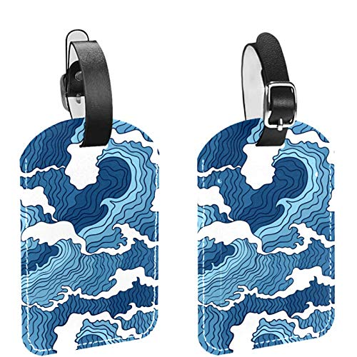 Luggage Tag Set of 2, His Hers Ours Travel Bag Tag, Suitcase Tag, School Bag Tag Sea Wave Pattern Blue White Color