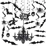 Decoraciones colgantes de remolino de Halloween, 42 piezas Halloween encantada casa remolino colgante de techo decoraciones de araña con calavera araña murciélago calcomanía de pared
