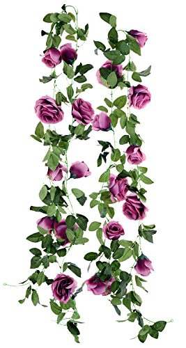 FiveSeasonStuff 2 Pcs Artificial Silk Rose Garland Vine Plant Flower Leaves (4.4m / 173 inches) Perfect for Wall Decoration, Wedding, Bridal(Purple)
