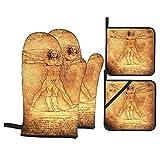 Juego de 4 Manoplas para Horno y Soportes para ollas,Foto del Hombre de Vitruvio de Leonardo Da Vinci de 1492,Guantes para Barbacoa con Forro Acolchado,