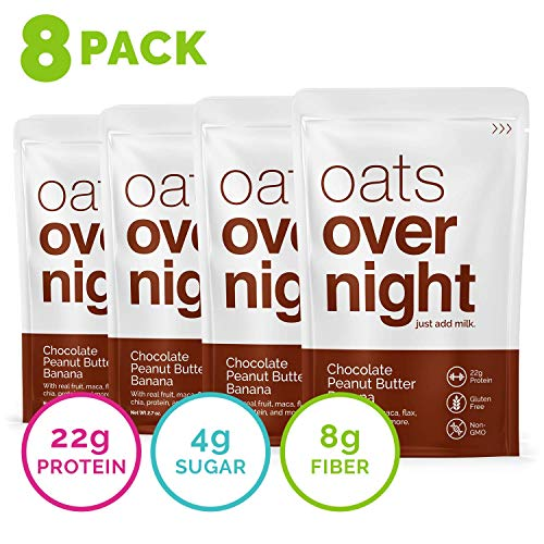 Oats Overnight - Oatmeal, Whey Protein, Rolled Oats, Low Sugar, Gluten-Free, Non-GMO, Chocolate Peanut Butter Banana, 3 Ounce (8 Pack)
