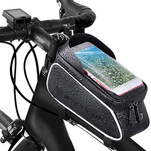 Marco de teléfono para Bicicleta Bolsas Impermeables Accesorios Funda táctil Soporte Grande para teléfono para Bicicleta Bolsa para Bicicleta con Visera para teléfonos 6.5', Negro, 21cm × 13cm × 9cm