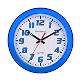 Moonport 8 Inch Wall Clock,Silent Non-Ticking Quartz Battery Operated Round Easy to Read for Home/Office/School Clock-Blue