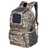 XTPower Xplorer Camouflage 38 | Mochila solar con panel solar extraíble de 5 vatios | Impresión militar/camuflaje | Salida USB de 5 V para cargar smartphones, Powerbanks, tabletas, GPS y otros dispositivos USB