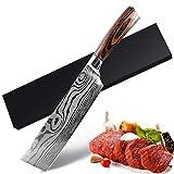 UniqueFire Couteau de Cuisine Nakiri, Couteau Japonais, Couteau à Légumes de 17,5 cm, Couteau de Chef Professionnel en Acier Inoxydable Allemand avec Manche Ergonomique et Robuste