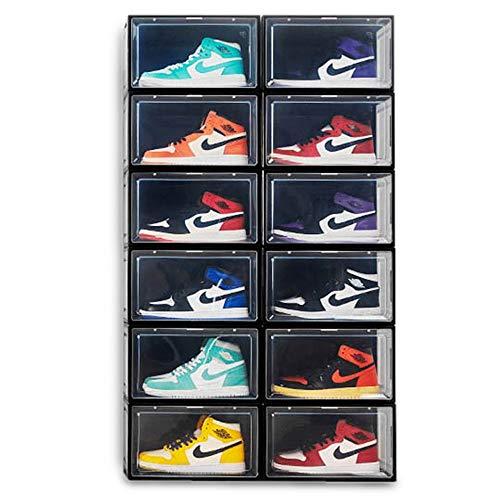 BITUXX LEX21 Schuhbox Stapelbar Aufbewahrungsbox Kunststoffbox Schuhkasten Schuhkarton Schuhorganizer bis Gr.47 (Schwarz, 6er Set)
