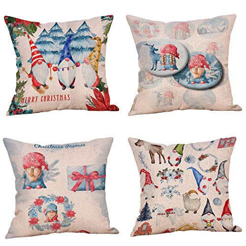 4 Pack Pillow Cushion Covers Decoration, 18 x 18 inch Winter Holiday Throw Pillow Case Cushion Covers Merry Christmas Decorative Couch Christmas Reindeer Decoration For Festival
