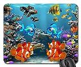 Alfombrilla Acuario Peces Peces Vida Marina Océano Corales Alfombrilla Gaming Antideslizante Base De Goma Bordes Cosidos Alfombrilla De Ratón para Ordenador Laptop Computer, 25X30 Cm
