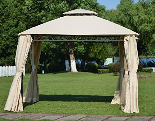 Bellemave Outdoor Patio Gazebo Canopy, Waterproof UV Protection Soft-Top Steel Outdoor BBQ Garden Gazebo Tent for Lawn, Backyard and Deck