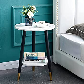 """Urraca Small Round Side Table,White Marble End Table,2-Tier Metal Nightstand with Storage Shelf,18""""Dx24""""H(Black)"""