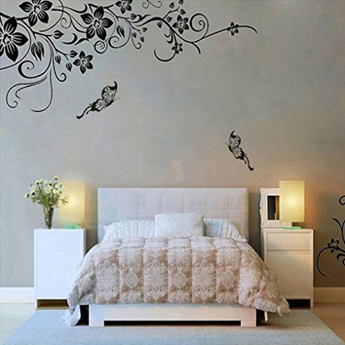 Vacally Green Plant Wall Stickers Wall Wall Art Decor Removable Vinyl Wall Sticker TV Background Mural Decal Wallpaper Flowers and Vine