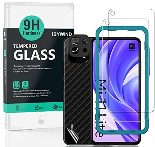 IBYWIND Vetro Temperato per Xiaomi Mi 11 Lite 5G, [Confezione da 2] con Metallo Protezione Obiettivo Fotocamera,Skin in Stile Fibra di Carbonio per Il Retro,Include Kit di Installazione Facilitata