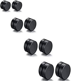 Fashionsupermarket 8-10PCS 6-12MM Stainless Steel Magnetic Fake Gauges Earring Studs,Cross Ear Cuffs for Non Pierced Ears,Black,Silver,Colorful,Hypoallergenic